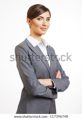 Portrait of young business woman, isolated on white background - stock photo