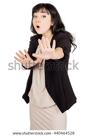 portrait of young business woman making stop hand sign palm gesture. isolated on white background. business and lifestyle concept - stock photo