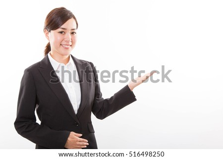Portrait of young business woman showing on white background