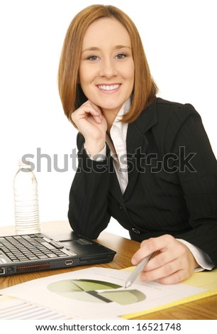 portrait of young business woman smilie and looking at camera, holding pen - stock photo