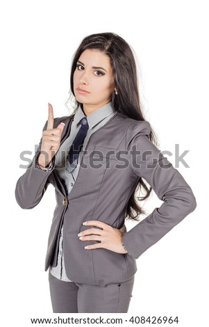 Portrait of young business woman threatening the finger into camera.. human emotion expression and lifestyle concept. image on a white studio background. - stock photo