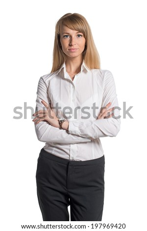 Portrait Young Business Woman White Shirt Stock Photo 197969420 ...
