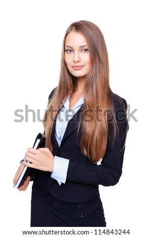 Portrait of young business woman with folder isolated on white background - stock photo