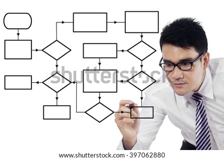 Portrait of young businessman drawing empty flow chart on the whiteboard with marker - stock photo