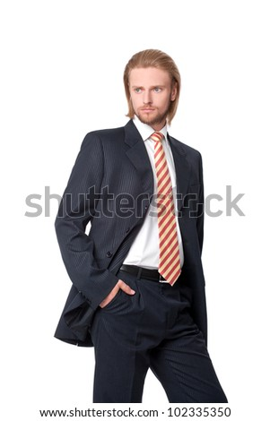 Portrait of young businessman, isolated on white background