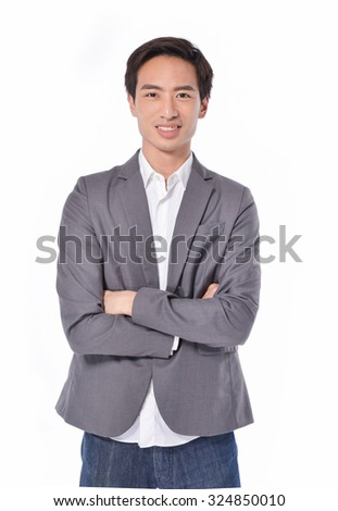 portrait of young businessman on white background - stock photo