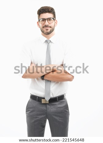Portrait of young businessman standing against white background. Business people. - stock photo