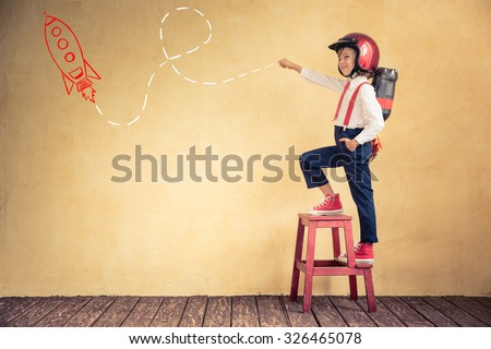 Portrait of young businessman with jetpack in office. Success, creative and innovation technology concept. Copy space for your text - stock photo