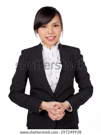 Portrait of young businesswoman in suit isolated over white background, put the hand in waist - stock photo