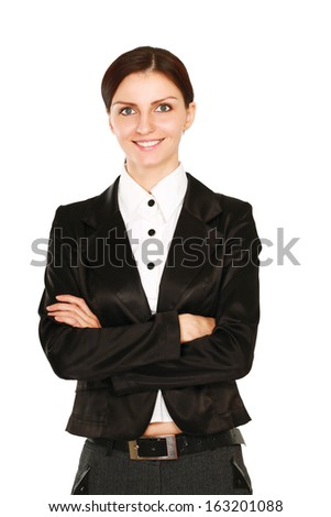 Portrait of young businesswoman, isolated on white background - stock photo