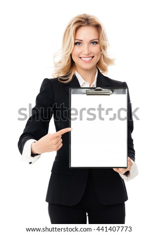 Portrait of young businesswoman showing blank clipboard, with copyspace area for text or slogan, isolated against white background
