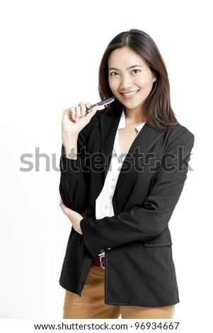 portrait of young businesswoman with a pen in her hand