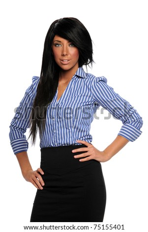 Portrait of young businesswoman with hands on hips isolated over white background