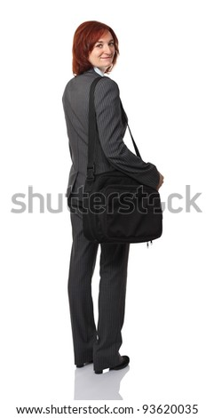 portrait of young businesswoman with laptop bag