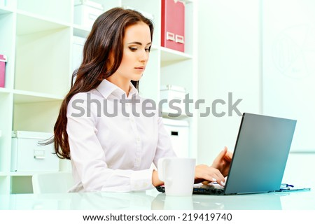 Portrait of young businesswoman working in the office with a laptop. - stock photo