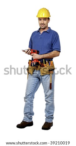 portrait of young caucasian positive handyman isolated on white with red drill
