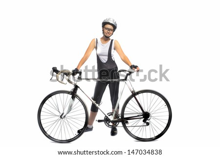 portrait of young caucasian sportswoman professionally equipped standing with bicycle isolated over white. horizontal shot - stock photo