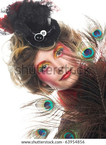 Portrait of young charming lady in creative image. - stock photo