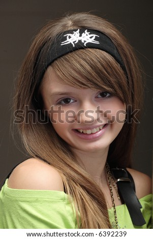 portrait of young cheerful girl - stock photo