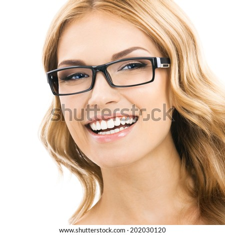 Portrait of young cheerful smiling woman in glasses, isolated over white background