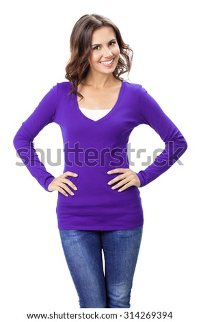 Portrait of young cheerful smiling woman, in violet casual clothing, isolated over white background - stock photo