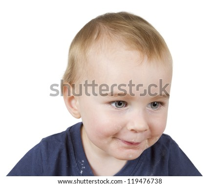 portrait of young child on white background - stock photo
