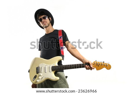 Portrait of young cool man holding electric guitar isolated - stock photo