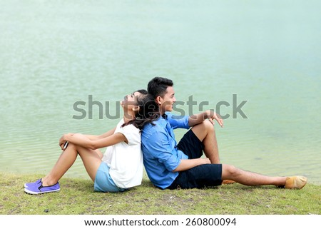 portrait of young couple feel relax on their vacation - stock photo