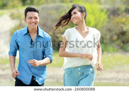 portrait of young couple having fun together