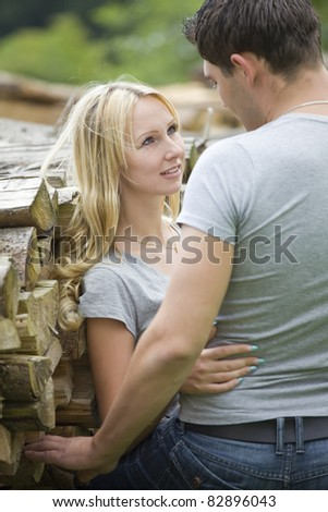 portrait of young couple in countryside