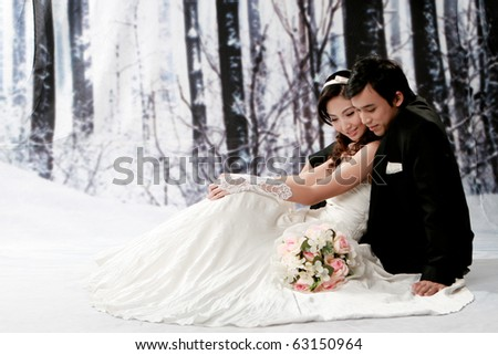 Portrait of young couple in romantic emotion - stock photo