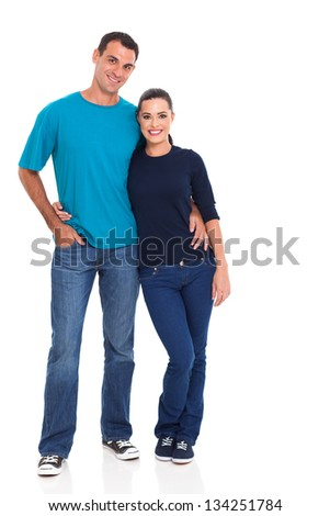 portrait of young couple isolated on white - stock photo