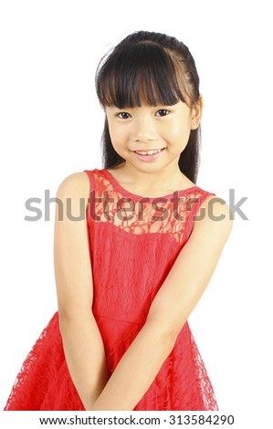 Portrait of young cute asian girl. - stock photo