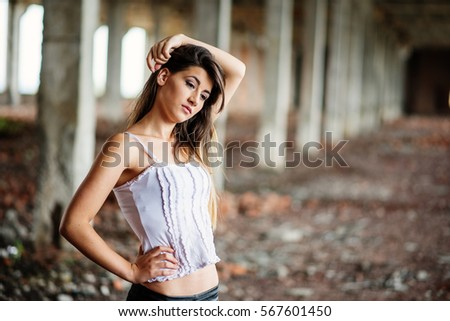 portrait young cute brunette girl wearing stock photo (royalty free