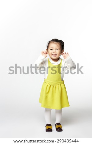 Portrait of young cute girl. isolated on white background.