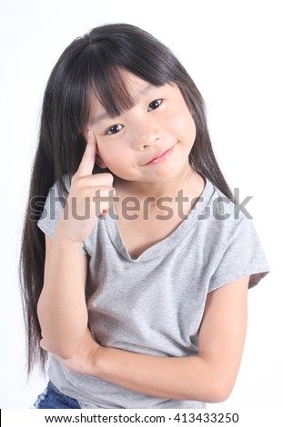 Portrait of young cute girl on white background. - stock photo