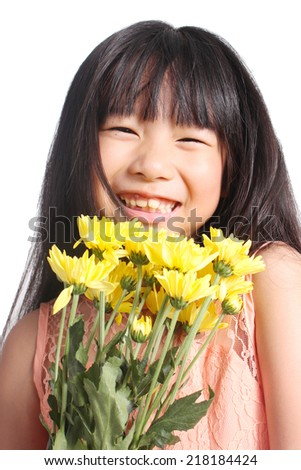Portrait of young cute girl with yellow flowers - stock photo