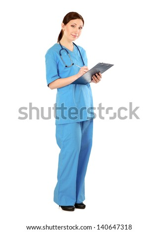 Portrait of young doctor or medic with clipboard and stethoscope isolated on white background
