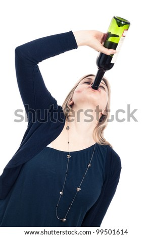 Portrait of young drunk woman drinking wine, isolated on white background. - stock photo