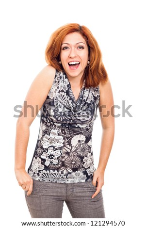 Portrait of young ecstatic happy woman, isolated on white background. - stock photo