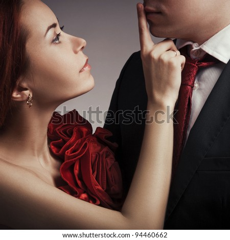 Portrait of young elegant couples in the tender passion
