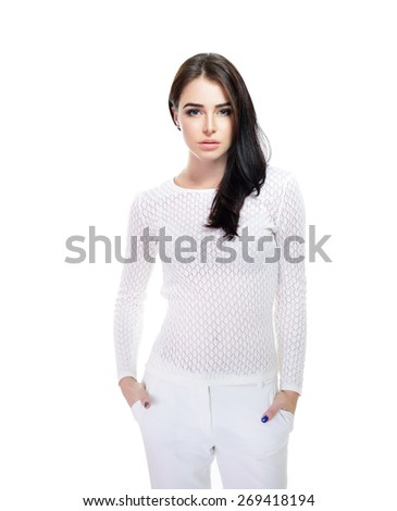 Portrait of young fashion girl - stock photo