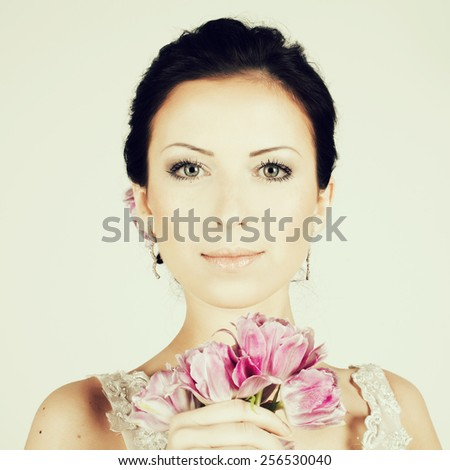 Portrait of young fashion model - stock photo