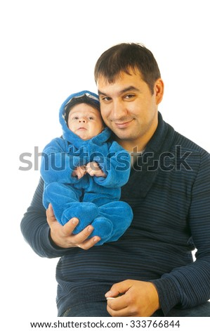 Portrait of young father holding his little child isolated on white background - stock photo