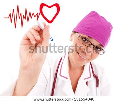 Portrait of young female doctor on white background, closeup - stock photo