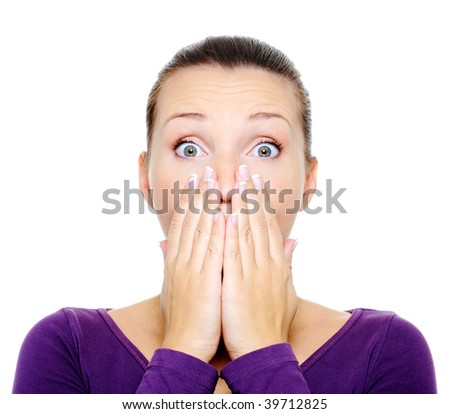 Portrait of young female with bright surprise emotion - over white background