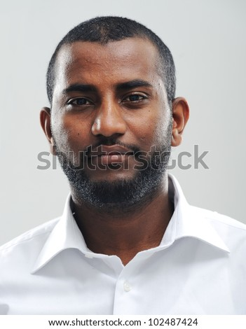 Portrait of young fine black man - stock photo