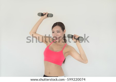portrait of young fitness woman and 