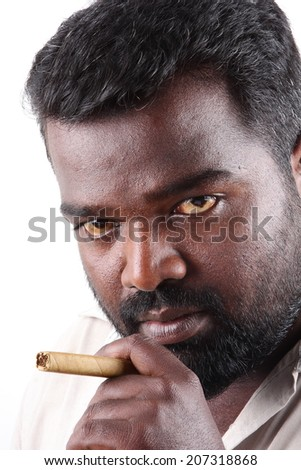 Portrait of young gangster with cigar . - stock photo