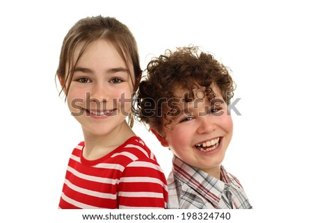 Portrait of young girl and boy isolated on white background - stock photo